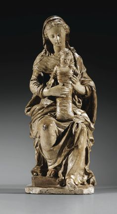 A FINE FRENCH, LE MANS, CIRCA 1630, POLYCHROME TERRACOTTA VIRGIN AND CHILD, ATTRIBUTED TO GERVAIS I DELABARRE (1593-1644)