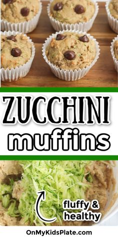 The BEST easy Zucchini Muffins you'll ever make! This zucchini recipe is moist and fluffy and great for a breakfast, lunchbox or a snack with just a few chocolate chips. These muffins are great to use up that summer zucchini! Freeze any extras for later! #zucchini #zucchinirecipes #muffinrecipes #breakfastideas Zucchini Muffin Recipes, Healthy Bread Recipes, Dairy Free Recipes, Yummy Recipes, Healthy Food, Zucchini Chocolate Chip Muffins, Zucchini Muffins, Healthy Muffins, Healthy Chocolate