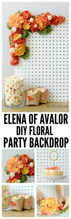 These are PERFECT for an Elena of Avalor party! AD Make this DIY Elena of Avalor party backdrop from a pegboard and some silk flowers. Don't forget to tune in to Disney Channel on FRiYAY mornings for new episodes of your favorite Disney Junior shows. AD