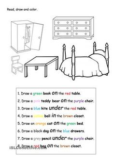 Read, draw and color. - ESL worksheets