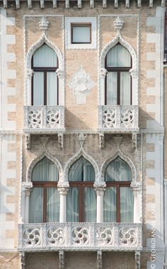 Palazzo Windows and Balcony Venice Italy