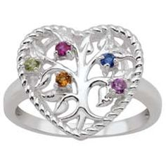 Mother's Tree of Life Heart Synthetic Birthstone Ring in Sterling Silver (2-5 Stones)