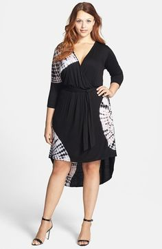 42f88e0354572 Loveappella Tie Dye Jersey Wrap Dress (Plus Size)
