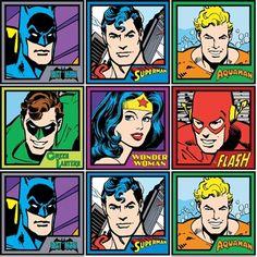 Cotton Fabric - Character Fabric - DC Comics Superman Flash Batman in Squares 12x44 Stripe - 4my3boyz Fabulous Fabrics by the Fat Quarter and More