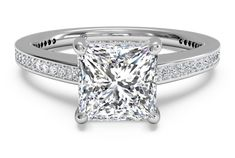 Shop classic delicate princess cut diamond engagement ring in white gold at Fascinating Diamonds. This diamond engagement ring is designed in Prong setting Most Popular Engagement Rings, Classic Engagement Rings, Princess Cut Engagement Rings, Beautiful Engagement Rings, Band Engagement Ring, Engagement Ring Settings, Beautiful Rings, Wedding Ring Designs, Wedding Rings