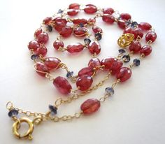 18K Solid Gold~ AAA Red Spinel & Tanzanite long flapper necklace
