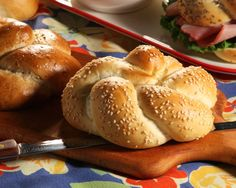 Kaiser Rolls Not just your ordinary dinner roll, these Kaiser Rolls look exquisite on the table. #rhodesbread