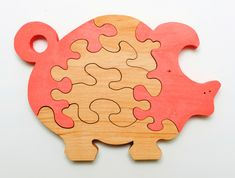 wooden Pig puzzle for childrens by WoodenWorkJoy on Etsy (null)