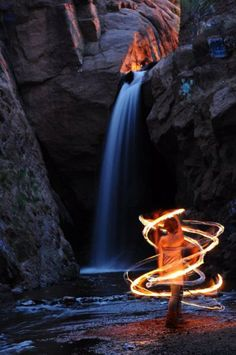 Fire Hoop near a waterfall - Hooping, hoop dance, dancing Nocturne, Breathing Fire, Arte Peculiar, Rainbow Falls, Fire Dancer, Flow Arts, Fire Art, Fire And Ice, Long Exposure