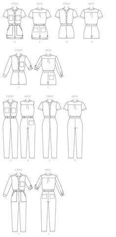 M7330 Misses' Button-Up Romers & Jumpsuits
