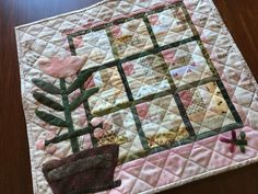 Handmade Quilt Table Top Log Cabin Blocks Pink Cream Green Wool & Cotton Fabric   eBay