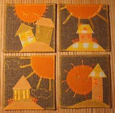 Идея - Из мешковины и кусочков цветной ткани