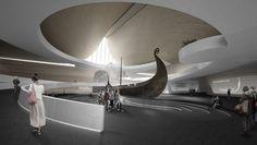 Viking Museum Oslo – Architecture and Design Studio Residential Building Plan, Viking Museum, Viking Culture, Design Research, Main Entrance, Plan Design, Atrium, Ceiling Design, Oslo