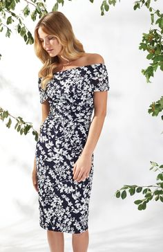 Genevive Floral Bardot Dress Navy White Off the Shoulder White Off Shoulder, Spring Summer 2018, Floral Motif, Types Of Sleeves, Navy And White, Casual, Fabric, Dresses, Vestidos