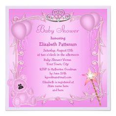 Pink Princess Teddy Bear & Balloons Baby Shower Custom Invitation