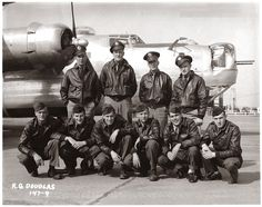 "The crew of four officers and six enlisted men that it typically took to fly the B-24 Liberator bomber behind them. This image was taken just after they were assigned to their new plane (without any nose art markings on her yet), and they joined the 8th Air Force, 93rd Bombardment Group (the ""Traveling Circus""), 330th Squadron, flying out of Hardwick Airfield just south of Norwich, England (1944)."