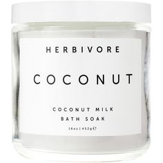 Herbivore Botanicals Coconut Bath Soak (125 RON) ❤ liked on Polyvore featuring beauty products, bath & body products, body cleansers, beauty and herbivore