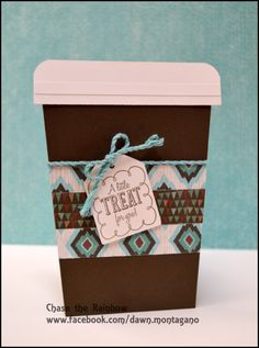 CTMH 'Treats of Friendship' stamp and Jackson paper pack. It's a coffee shaped card that holds a gift certificate *featured in my April Virtual card kit*. www.facebook.com/dawn.montagano