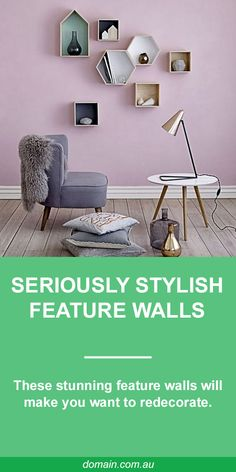 Nothing pulls a room together or makes a statement better than a feature wall, whether you stick with the tried and true bold-colour painted feature, or try something different, such as upholstered wall panels or pressed-tin tiles. This collection is designed to give you all manner of ideas for your next interior design project, so wander through these wonders and don't forget to save your favourites.