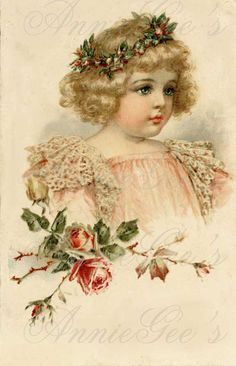 Victorian Girl in Pink Lace and Flowers Brundage by AnnieGees, $3.50