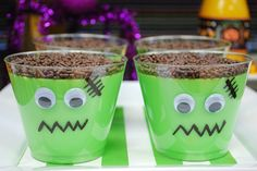 Frankenstein pudding cups - so easy! | lillypaul designs