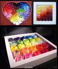 [Origami] enjoy Valentines Day special edition of 05: Rainbow Rose! ! ! ! ! !