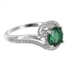 Sterling Silver Created Emerald Round Cubic Zirconia Ring
