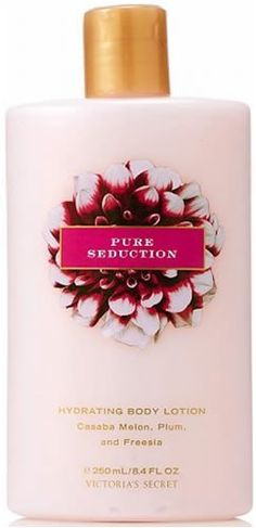 $11.45-$9.00   Victoria's Secret Garden Pure Seduction Hydrating Body Lotion 8.4 fl oz (250 ml)    An enticing blend of casaba melon, plum and freesia.    Pamper skin with ingredients from a Secret Garden, like naturally conditioning Aloe, Oat and Grapeseed Extracts, and nourishing Vitamins E and C. Smooth over body for enriching moisture and sensuous fragrance.
