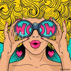 Similar Images, Stock Photos & Vectors of Wow pop art face. Sexy surprised woman with blonde curly hair and open mouth holding binoculars in her hands with inscription wow in reflection.Vector colorful background in pop art retro comic style. Pop Art Tattoos, Kunst Tattoos, Tattoo Art, Comic Kunst, Comic Art, Comic Style Art, Background Comic, Vector Background, Bright Background