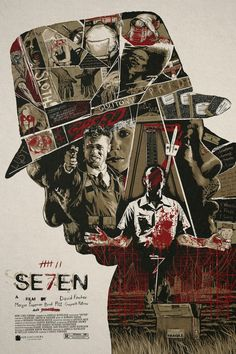 "Se7en by Christopher Cox / Behance / Twitter / Instagram / Store 24"" x 36"" screen print with glow in the dark ink layer. Private commission, not for sale."