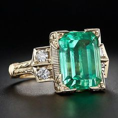 Antique Vintage Natural Green Emerald Genuine Diamond Ring Solid 14K Yellow Gold