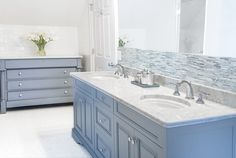 Cory Connor Design - bathrooms - Benjamin Moore - Eclipse - blue gray walls, blue gray paint colors, blue gray vanity, blue gray washstand, ...
