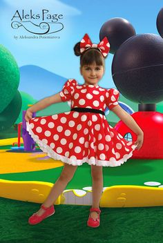 CUSTOM FIT WITH A PATTERN CREATED JUST FOR YOU!  . Your princess will be adorable in a polka dots dress with snow-white lace. Add a stretchy belt, big red bow, happy smile to prepare little Minnie Mouse for event. Also playing, running and dancing in a cotton outfit could lasts during the whole day.  You can see how this dress looks like in a real life at our Youtube - https://www.youtube.com/channel/UCz058OrhfKIfTrWaK6i5CXQ/videos  YOUR COSTUME INCLUDES: Complete dress Petticoat Belt-bow…