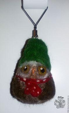 """Купить Брелок """"Сова"""" - коричневый, в горошек, сова, брелок, шарф, совушка в зеленом, подарок, колпак"""