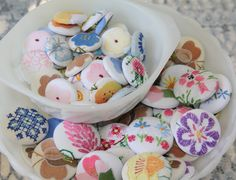 I love the idea of transforming vintage linens into covered buttons.