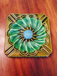 Midcentury Large Ceramic Ashtray Flower Green Blue Japan by poetsy