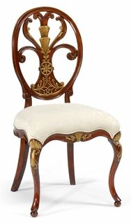 Jonathan Charles Special Order Sheraton Style Oval Back Chair Fabric Seat. Sheraton style walnut dining side chair with an open oval back, the splat with decorative gilded neoclassical carving and a fleur-de-lys type ornament.