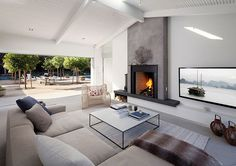 Family Room - Mid-century Remodel - Modern Home - Minimalist Palette - Fireplace - Interior Design