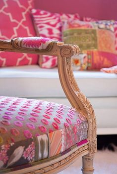 bohemian chic upholstery job.  And it's pink!