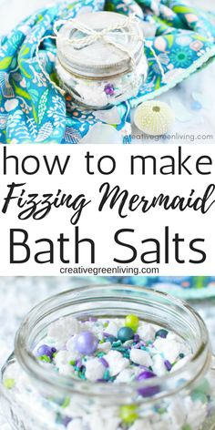 Fizzing Mermaid Bath Salts - Easier to Make Than Bath Bombs!Learn how to make easy DIY bath fizz powder. This easy recipe lets you make fizzy bath products with baking soda, citric acid and essential Bath Bomb Recipes, No Salt Recipes, Bath Salts Recipe, Homemade Bath Salts, Homemade Gifts, Baking Soda Shampoo, Honey Shampoo, Mermaid Diy, Bath Fizzies