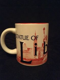 New York Skyline Statue Of Liberty Raised Letters Red White Ceramic Coffee Cup #StatueofLiberty