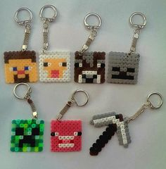 Minecraft Styled Keyrings perler beads by TheGnomeInn