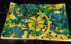 Oranges and Lemons Dylusions, stamps, homemade stencils, paint pens