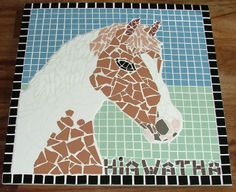 Mosaic horse portret made by miep-mozaiek