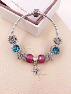 50% OFF!!! $239 Pandora Charm Bracelet Pink Blue. Hot Sale!!! SKU: CB02113 - PANDORA Bracelet Ideas