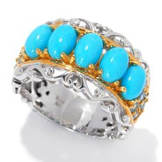 Michael Valitutti Palladium Silver Sleeping Beauty Turquoise & Swiss Blue Topaz Five-Stone Band Ring (