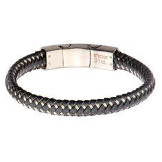Men's #Gray #Woven #Leather with Steel Clasp #Bracelet. #inox #jewelry #jewelryformen
