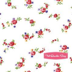 White mini Roses fabric