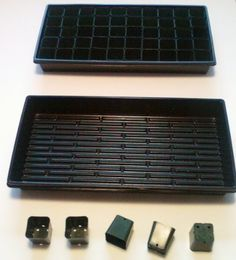"""100 2"""" Square Pots + 2 Solid Bottom 1020 Trays + 100 Labels by Gardenstuff. $38.00. This listing is for a quantity of 100 pots + 2 solid bottom 1020 nursery trays + 100 4"""" stake labels.  POTS ARE 2"""" SQUARE x 2 1/4"""" DEEP 50 FIT IN A 1020 NURSERY TRAY.  DUAL LEVEL DRAINAGE FOR HEALTHY ROOTS. GREAT FOR STARTING SEEDS OR CUTTINGS. REUSABLE."""