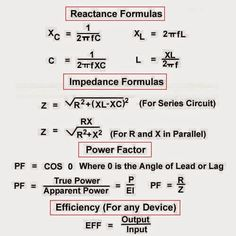Formulas of Reactance ,Impedance ,and Power Factor - EEE Press Engineering Technology, Electronic Engineering, Mechanical Engineering, Electrical Engineering, Energy Technology, Basic Electrical Circuit, Electrical Work, Physics Formulas, Circuit Projects